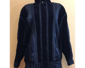 Vintage 80's Black Velvet Braiding Linda Allard for Ellen Tracy Jacket