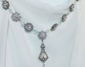 Bridal necklace, wedding jewelry, wedding necklace, bridal sets, crystal necklace, antique looking, bridal jewelry, rhinestone necklace