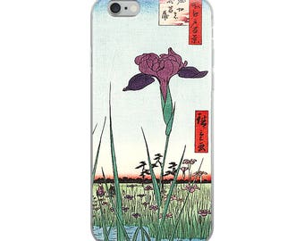 Japanese flower iPhone case, pretty purple Asian woodblock print design great for flower lovers, nature lovers, and Hiroshige lovers!