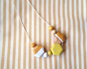 Wooden handpainted necklace. vintage style. Minimal.