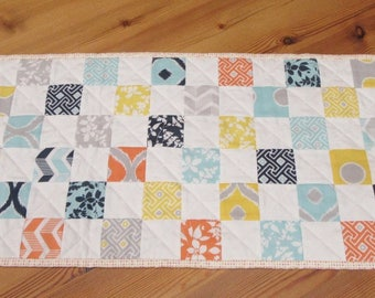 Patchwork table topper, quilted table runner, coffee table decor, kitchen table topper, bright colours with grey and white