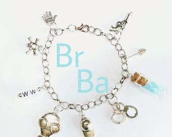 "Bracelet ""Breaking Bad"" silver DIY handmade new variants gift light blue drugs ww Walter White Jesse Charm Pendant series Pearl must-have"
