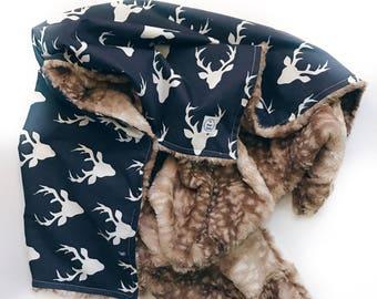 Deer Baby Blanket, Faux Fur Blanket, Woodland Baby Blanket, Rustic Baby Blanket, Navy, Rustic Crib Bedding, Stroller Blanket, Deer Crib