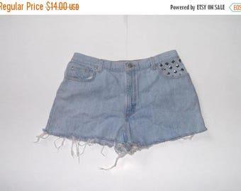 SALE Womens Studded Denim High Waist Blue Jean Cut-Off Shorts Size 14