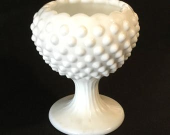 Vintage Hobnail Milk Glass Chalice Vase