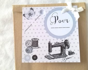 Kraft sewing theme gift bag and retro designs label