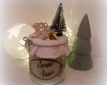 """Happy new year"" pale green candle Nordic inspiration"