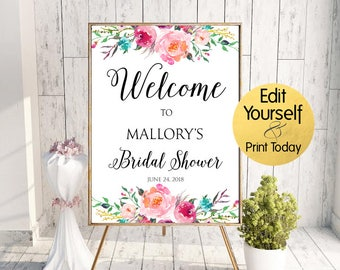 Bridal Shower Welcome Sign, Bridal Shower Sign, Floral Bridal Shower Welcome, Editable Welcome Sign, Bridal Shower Welcome Sign Template