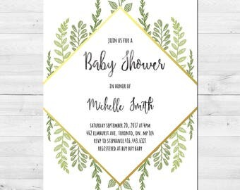 Baby Shower Invitation, Gender Neutral, Greenery, Watercolor, Gold, Rustic, Modern, Printable, Printed