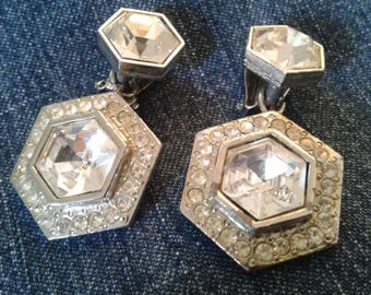 Deco Style Silver tone and Sparkling Clip On earrings By IDENTITE