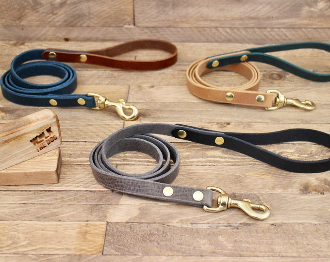 Dog leash, Black leather leash, Handmade dog leash, Pet gift, Classic leather leash, Lead, Dog lead, Solid brass hardware, Leash, Dog gift.