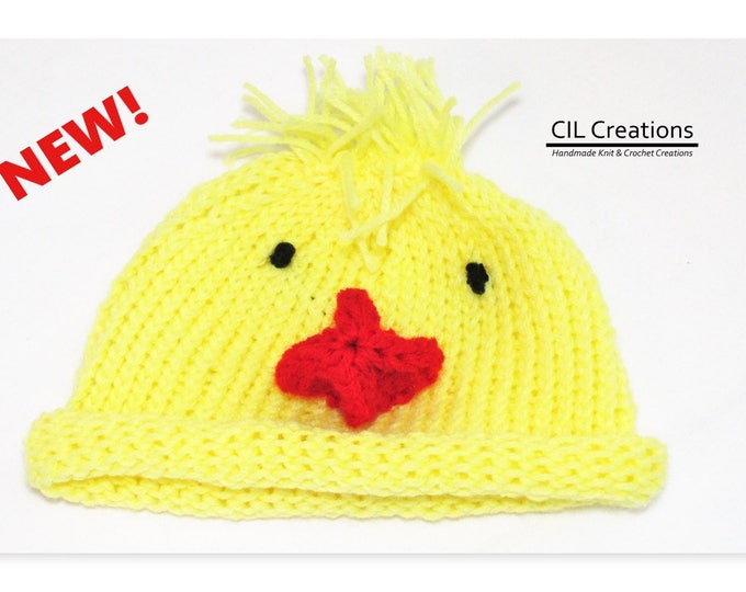 Featured listing image: Baby Duck Hat Made to Order Multiple sizes Handmade Knit