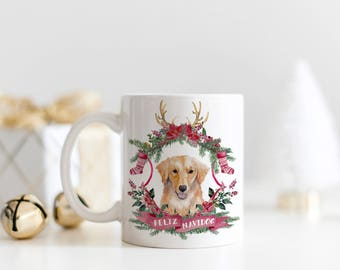 Feliz Navidog Christmas Coffee Mug | Watercolor Dog Christmas Mug | Golden Retriever Christmas Mug | Feliz Navidad Holiday Mug | Dog Mug