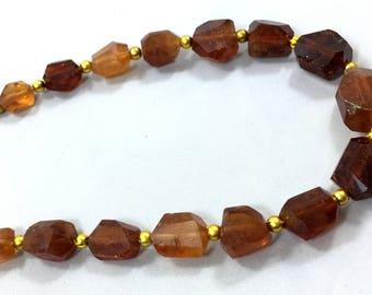 1 strand handmade hessonite garnet beaded necklace