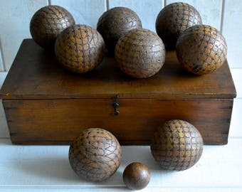 RARE. Antique French  PETANQUE bowls  1900s PROVENCE wooden hobnailed bowls - complete set - box and rule-  Wonderful patina...