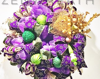 Christmas and holiday wreath, Mardi Gras party decoration. Made with shatterproof ornaments