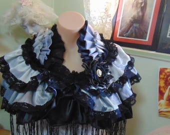 1920s Flapper Steampunk Gothic Dove Grey & Black Ruffled Cameo Fringed Capelet