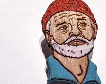 Bill Murray Lapel Pin, Steve Zissou Life Aquatic Wood Hat Pin, Hand-Painted Wooden Brooch or Magnet