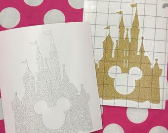 glitter vinyl decal - castle mouse