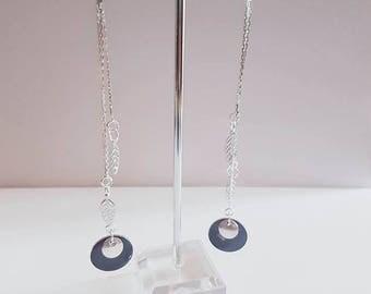 Pair of black beads and silver leaf earrings