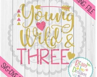 Third birthday SVG, DXF, EPS cut file one cut file three svg three svg crown svg third birthday wild and three svg third birthday design