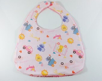 Large pink cotton and Terry bib