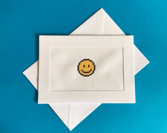 Smiley face cross stitched card - blank card - happy card - friendship card - encouragement card - congratulations card - good luck card
