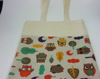 Owl canvas cotton fabric tote bag