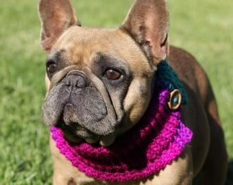 French Bulldog Pug CLOTHE Neck Warmer Pug Bulldog Boston Terrier Crochet Button Scarf