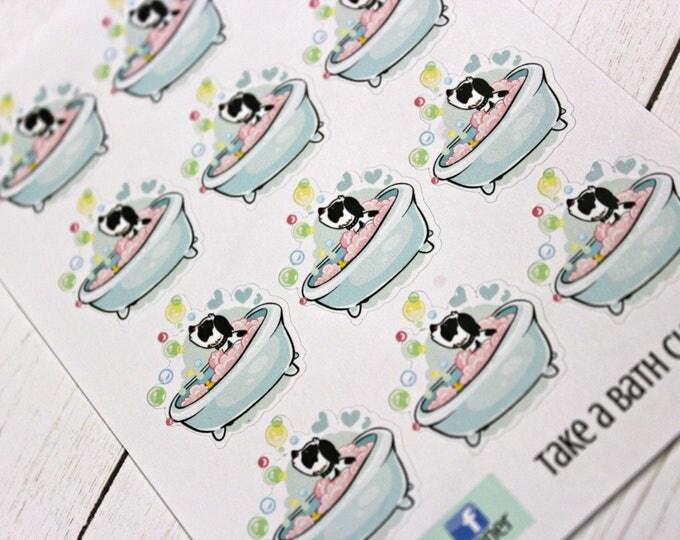 Bath Time Stickers - Charlie Planner Stickers - Character Stickers - Self Care Stickers -  Bubble Bath Sticker - Relax Sticker - Dog sticker