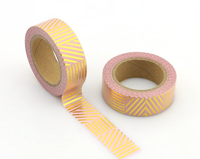 Gold Foil Washi Tape - Foil Washi Tape - Gold foil pink Striped Washi Tape - Paper Tape - Planner Washi Tape - Tape - Gold foil Washi