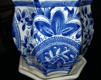 A blue and white porcelain Flower Pot made in China