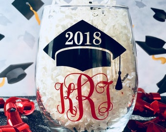 Graduation Wine Glass, 2018 Graduation Stemless Wine Glass, College Graduation Gift, Monogrammed Graduation Stemless Wine Glass