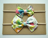 Neon Multicolored Floral Anna Large & Mini Hair bow-Sailor Bow-Baby Headband-Newborn Cotton Hairbow-Toddler Hair clip-Fabric Bow with tails