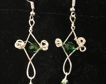 Green wire wrapped earrings