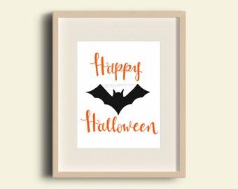 Halloween Printable Art, Halloween Decor, Happy Halloween Sign, Halloween Wall Art, Instant Download
