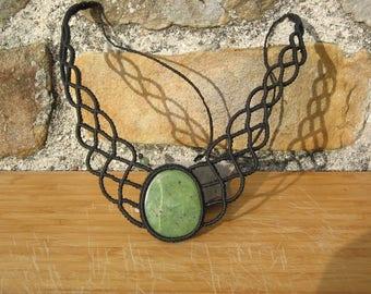 macrame with a semi precious agate stone necklace