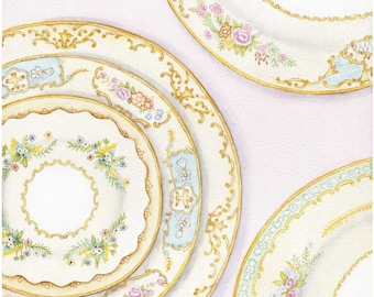 Watercolor Vintage Plates Print