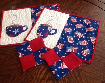 His and Her's Patriotic Coffee Mug Rugs and Coasters