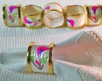 set of 5 oriental pattern lacquered or lacquered look napkin rings ~ pearlized look with bright pink flower shape design ~ table setting