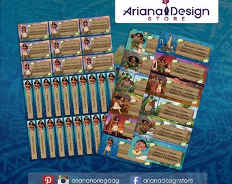 Printable and personalized Moana name tags - Moana school stickers - Moana Labels