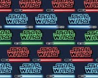 "Star Wars words and light sabers fabric, By the Half Yard, 44"" wide, 100% cotton, character fabric, star wars fabric, licensed fabric"