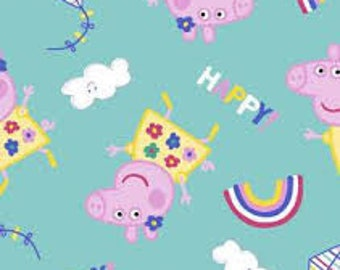 "Peppa Pig kites and rainbows fabric, by the half yard, 43"" wide, 100% cotton, cartoon fabric, teal fabric, TV fabric,"