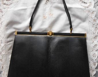1960s Handbag, Leather Handbag, Black/Navy, Vintage Handbag, Gift for Her, Widegate London