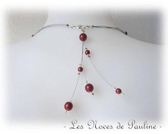 Back red wedding jewelry dangle three Elisa