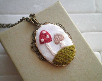 Embroidered Mushroom Necklace - Toadstool Diorama Embroidery - Wild Shrooms Woodland Nature Textile Pendant - Fiber Art Jewelry Holiday Gift
