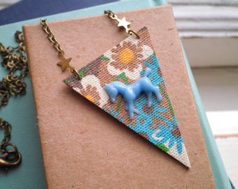 Vintage Floral Fabric Bunting Horse Necklace - Blue Horse Pendant - Bohemian Flowers Textile / Fabric Art Equestrian / Animal Jewelry Gift