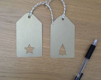 Gold pearlescent Christmas tags, Christmas present labels , xmas tags, Christmas tags with cutout, stylish tags, pearly Christmas tags,