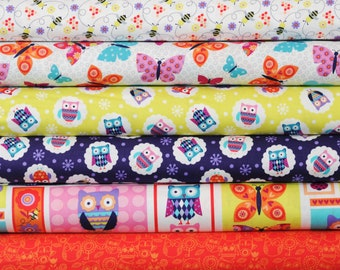 "Studioe ""Wings-N-Things"" ~ OWLS, BUTTERFLIES and BEES ~ 6 Fat Quarter Bundle ~"
