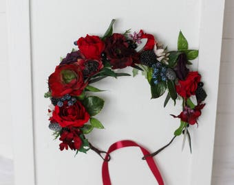 Deep red succulent flower crown Floral accessories Wedding hair wreath Bridal halo Woodland Outdoor Bridesmaid crown Maternity photo props